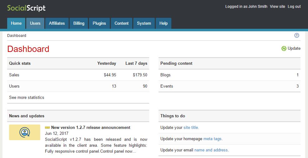 SocialScript fully responsive control panel